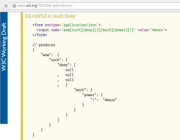 A screenshot from W3C's HTML JSON form draft, EXAMPLE 6: Such Deep.